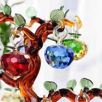 40mm Cut Crystal Glass Apple Christmas Hanging Tree Decoration Crystal Crafts Home Wedding Party Ornaments