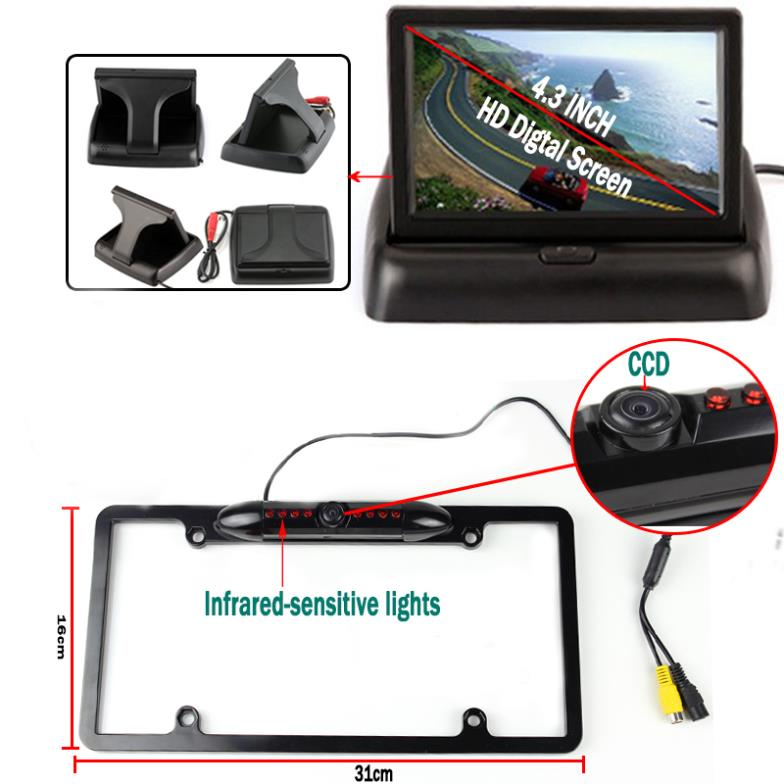 ФОТО CCD Auto Rear View Camera Car Stlying Parking System Black License Plate with 4.3'' Foldable Monitor