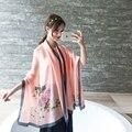180*90 см 2016 Мода Марка Шелковый Шарф Женщины длинные теплый шарф большой размер роза Пашмины Шали и Шарфы Мыс Foulards Femme