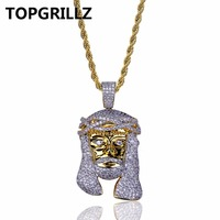 TOPGRILLZ Gold Color Plated Iecd Out HipHop Micro Pave CZ Stone Pharaoh Head Pendant Necklace With 60cm Rope Chain