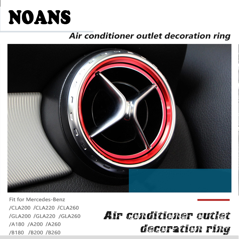 NOANS Car Styling Center Console Air Vent Outlet Rings AMG Stickers For Mercedes Benz A B GLA CLA Class W176 W246 Accessories