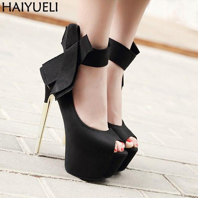 Женская обувь на высоком каблуке Женственные туфли на платформе с открытым  носком Модные женские туфли на 1ba053df2ca