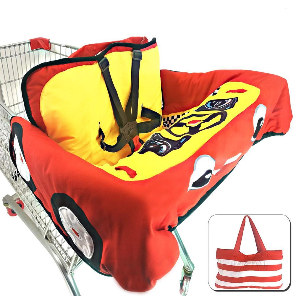 Детская магазинная Тележка для покупок Подушка к обеденному стулу Защитная переносная подушка для путешествий с карманами уход за ребенком - Цвет: C