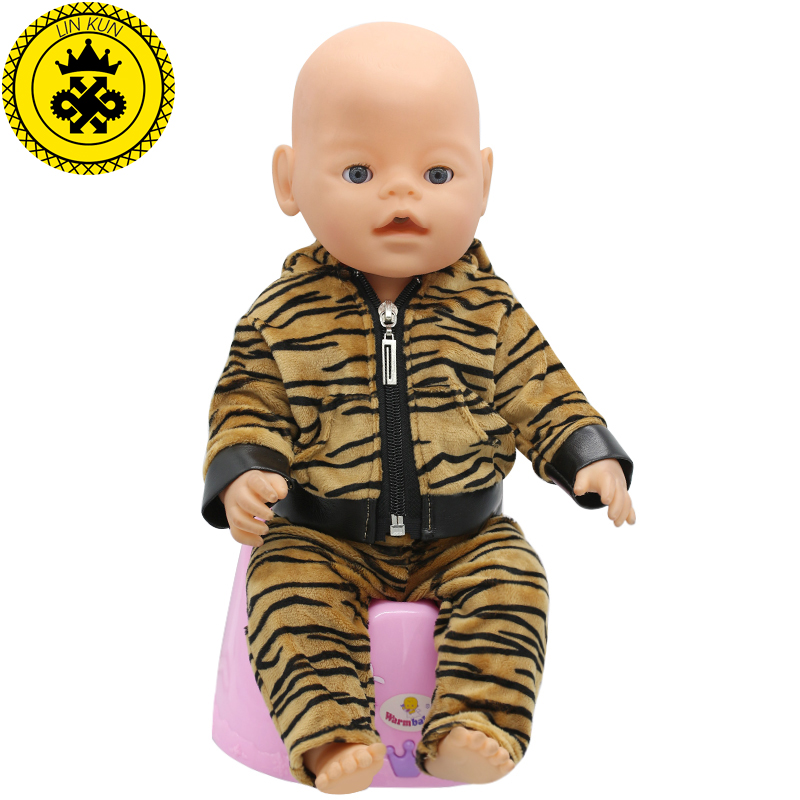 Tiger Jackets and Pants Suit Dress Doll Clothes fit 43cm Baby Born Zapf Doll Clothes and 17inch Doll Accessories Handmade 186