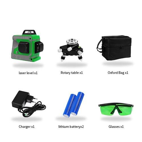 Лазерный уровень 12 линий 3D самонивелирующийся 360 горизонтальный и вертикальный крест супер мощный зеленый лазерный луч линии - Цвет: Set 13