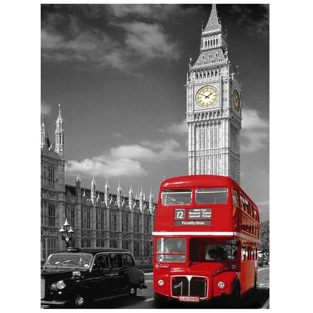 5D DIY Diamant Stickerei Muster Strass London Bus Wohnzimmer Dekoration