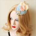 Luxury Lolita Palace British Lady Rose Lace Headwear Vintage Hairpins Fashion Small Top Hat Girl Friend Hair Accessory FJ-42