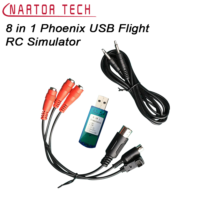 все цены на Hot Sale 8 in 1 Phoenix 5.0 USB Flight RC Simulator Cable for Realflight Racing Drone Free Shipping онлайн