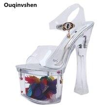 Ouqinvshen пряжка ремень Прозрачные ботинки странный стиль моды повседневные высокие каблуки сандалии женщин Peep Toe Flower Summer Shoes