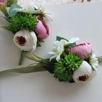 Wedding Flower 3Color Boutonniere Groom Groomsman Brooch Artificial Corsage Accessories Decoration Bride Bridesmaid Wrist Flower