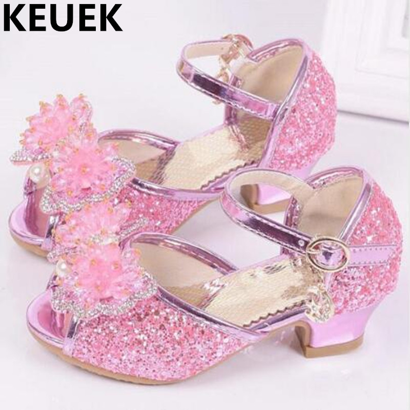 NEW Child Girls Sandals Summer Kids Glitter pearl High heeled Children Crystal shoes Fish mouth Sandals