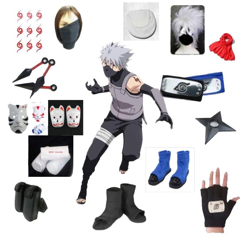 Anime Naruto Cosplay Hatake Kakashi Cosplay Costume Clothes Halloween Mask Custom Made Size For Adult Women Men Wig