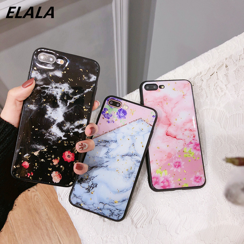 Luxury flower Marble Gold Foil Case For iPhone 7 8 6 Plus Soft Silicon TPU Cover For iPhone X XS Max XR 7Plus Cases Coque Funda