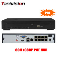 FULL HD 48V PoE NVR 8Channel 1080P IEEE802 3af Security NVR PoE Switch Inside ONVIF AEEYE