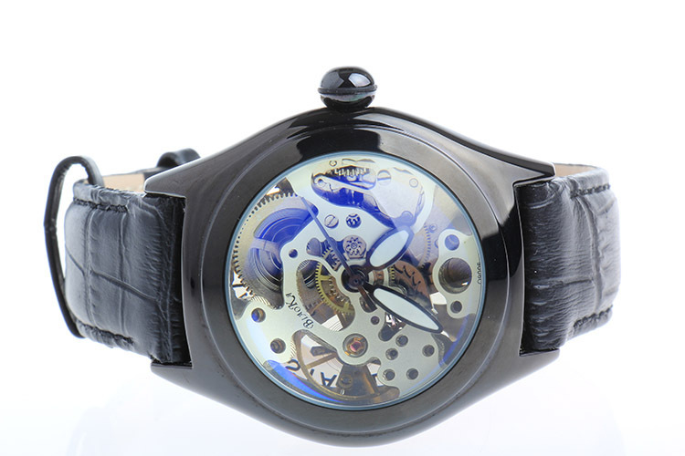 ФОТО Lovely Round Designer Men Mechanical Watches Self Wind Skeleton Casual Wristwatch Full Steel & Leather Strap Analog Reloj NW3172