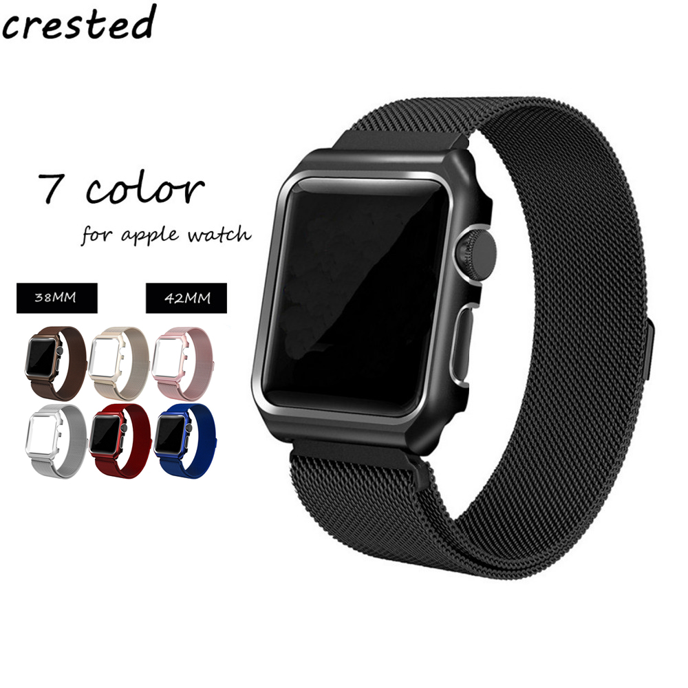 CRESTED Milanese Loop watch case+strap For Apple Watch band 42mm/38mm iwatch 3/2/1 Link Bracelet metal magnetic clasp band crested milanese loop strap for apple watch band 42mm 38mm stainless steel link bracelet wristband for iwatch 3 2 1 with case