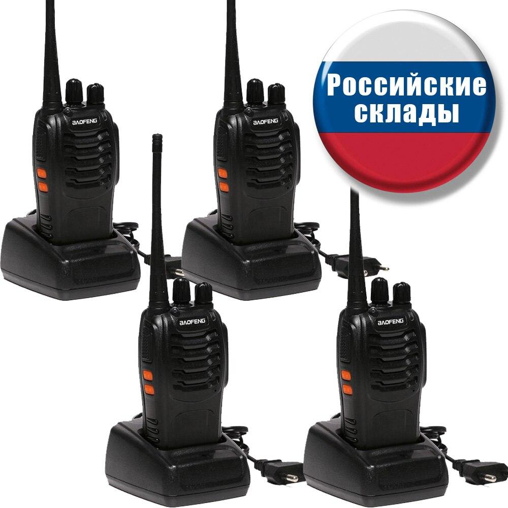 2 PCS BF-888S 4 PCS Baofeng Walkie Talkie Handheld Pofung 888s UHF 16CH 5W 400-470MHz monitor de Digitalização Ham CB Rádio em dois Sentidos Portátil