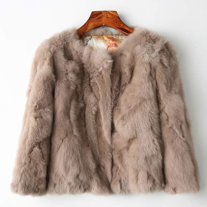 Genuine Full Pelt Fur Jacket Women's Design Rabbit Fur Coat Natural Wholeskin Fur Coat O-Neck Fashion Slim Thin Rabbit Fur Coat