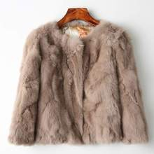 Genuine Full Pelt Fur Jacket Women's Design Rabbit Fur Coat Natural Wholeskin Fur Coat O-Neck Fashion Slim Thin Rabbit Fur Coat(China)