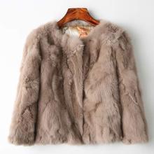 Подлинная Полный Пелт Меховая куртка Для женщин Дизайн кролик Мех пальто натуральный Wholeskin Мех пальто О-образным вырезом Мода Тонкий Кролик Мех пальто