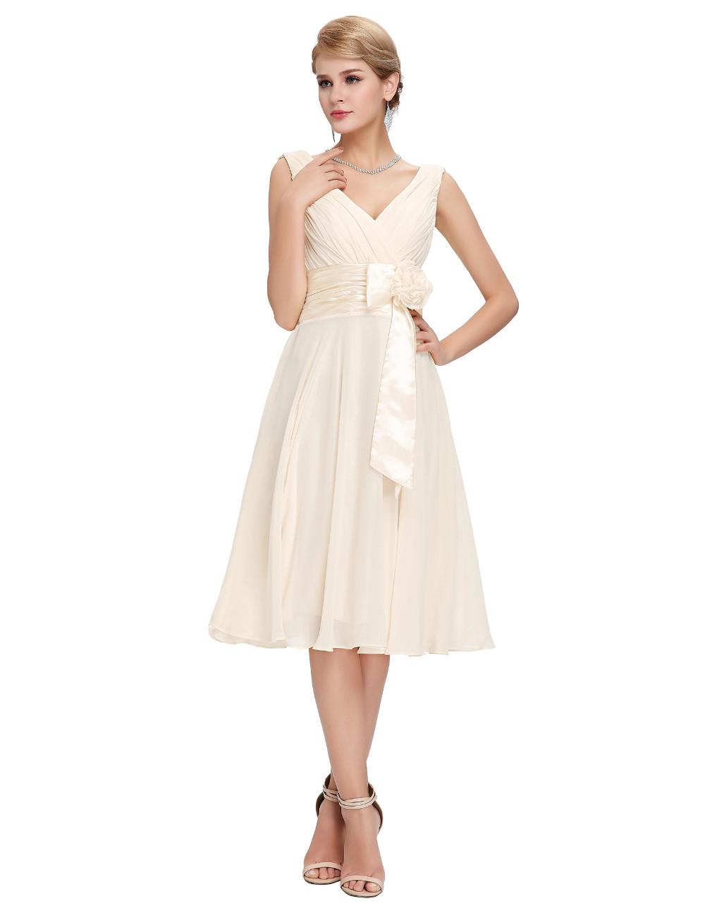 Knee Length Short Chiffon Bridesmaid Dress 2