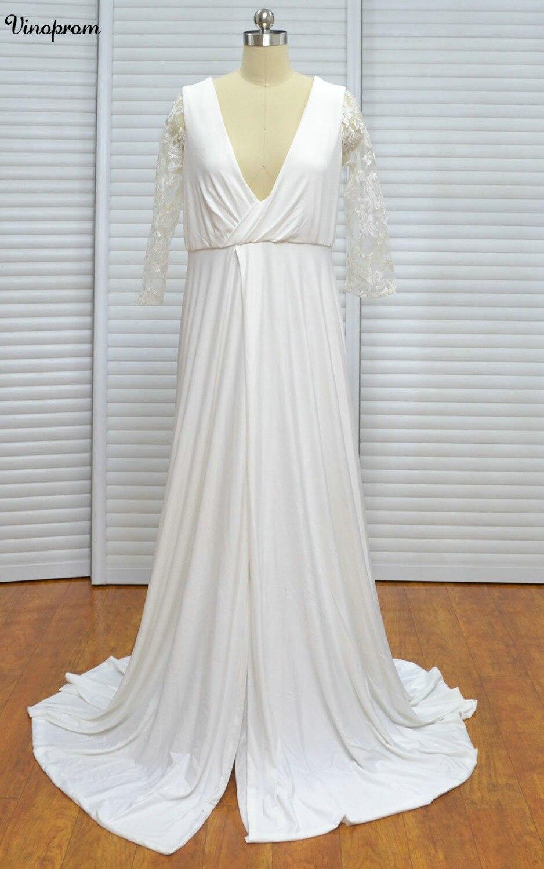 New Sexy Beach Empire Plus Size Maternity Wedding Dresses Long Sleeve Keyhole Zipper Up Backless Chiffon Summer Pregnant Bridal