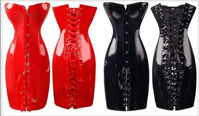 O Envio gratuito de 2015 de venda quente do corpo magro pvc espartilho moda sexy clube vestido plus size s m l xl xxl vermelho quente preto