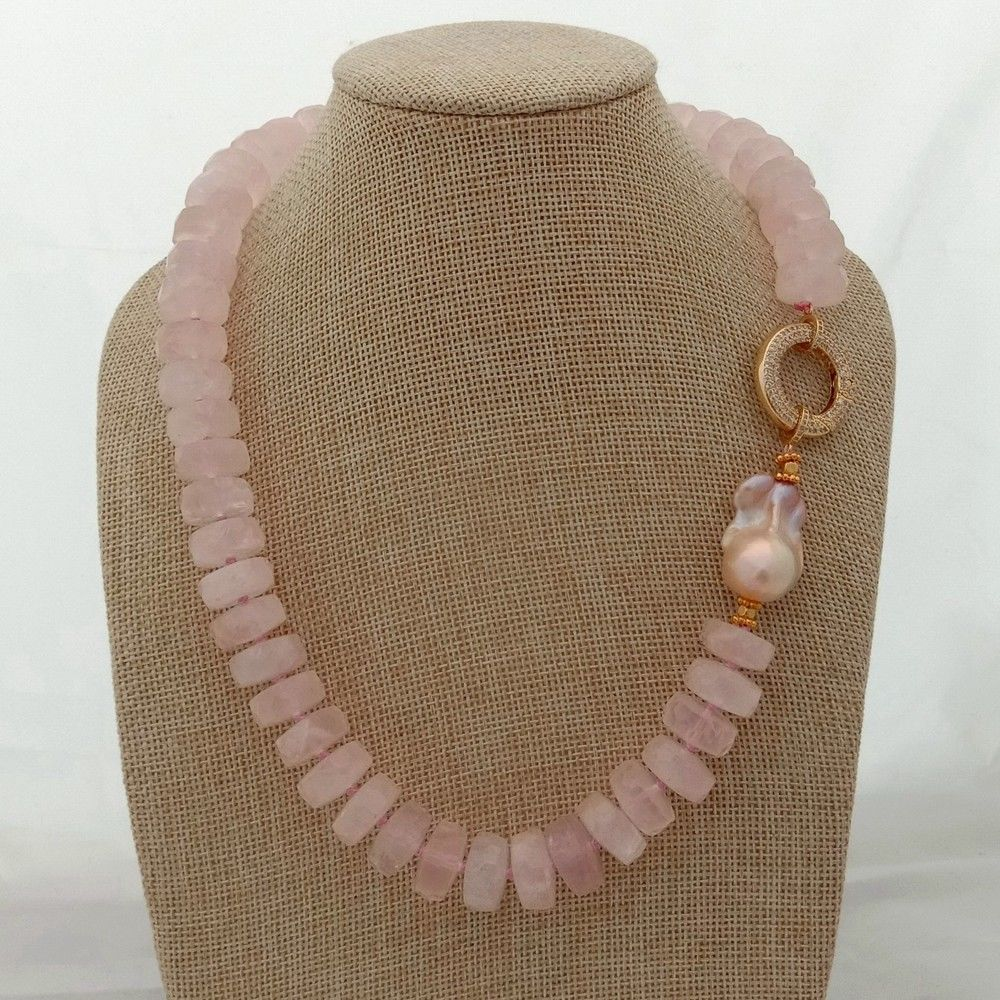 20'' Rose Crystal Faceted Rondelle Pink Keshi Pearl Necklace
