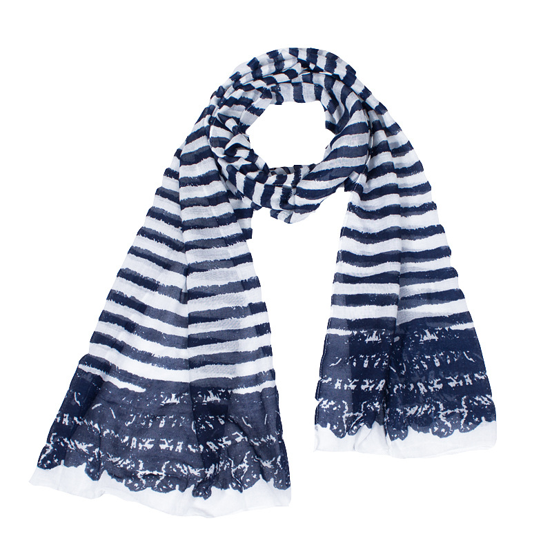 New Fashion Blue Striped Print Soft Polyester Women Scarf Lightweight Warm Scarfs 180*50 Cm