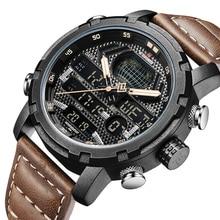 цена Mens Watches NAVIFORCE Top Brand Luxury Waterproof Led Digital Quartz Watch Man Fashion Leather Sport Wrist Watch Men Clock Male онлайн в 2017 году