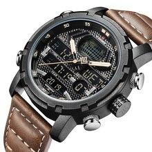 NAVIFORCE 9160 Brand Mens Watches Waterproof Led Digital Quartz Watch Man Fashion Leather Sport Wrist Watch Men Clock Male