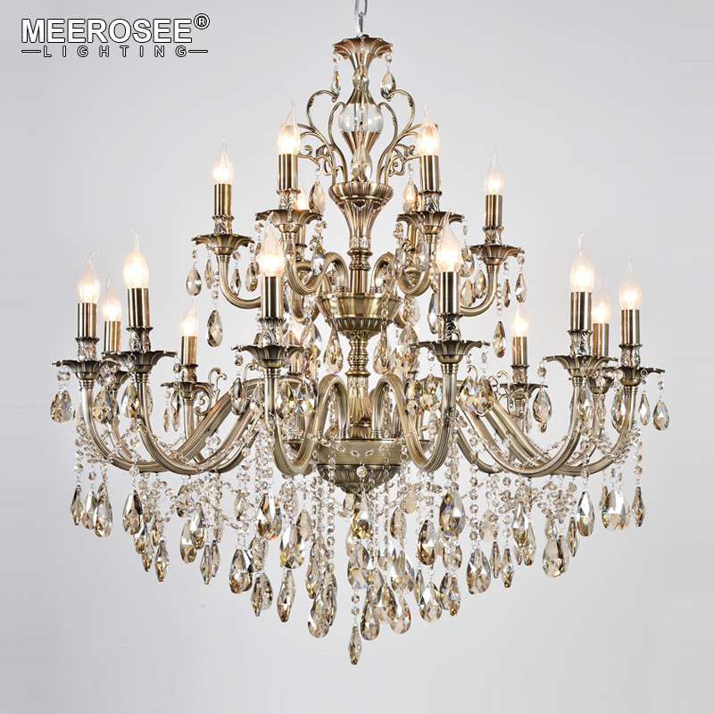 2018 Wholesale Crystal Chandelier Hanging Light Fitting Good Quality K9 Crystal 2 tiers 18 arms Drop Lustre for Living room