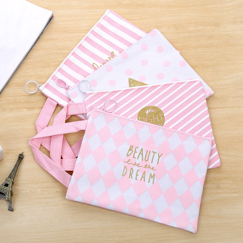 1PC Cute Pink A4 Document Bag Large Capacity Canvas File Folders Filing Products Student Gifts School Supplies