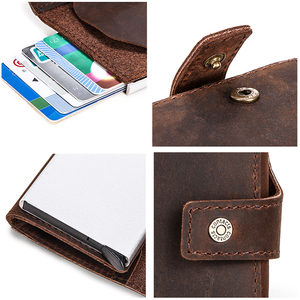 Image 5 - Contacts 2020 Business Credit Card Case for Men Card Holder Aluminium Box Crazy Horse Cow Leather Vintage Card Wallet RFID
