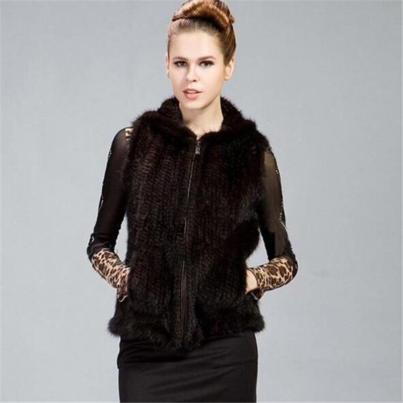 Genuine Knitted Mink Fur Vest Women Real Natural Fur Gilet Waistcoat Sleeveless Jacket Pocket With Hood
