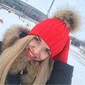 Invierno Gruesa Lana Tejido de Punto Beanie Sombreros Para Las Mujeres 15 cm pompones De Piel De Mapache Real Mujer Gorras Skullies