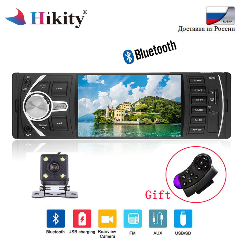 Hikity 12V Bluetooth Car Radio 1 din Car Stereo FM Radio MP3 Audio Player 5V Charger USB SD AUX 1 DIN Autoradio Rear View Camera 1 din 12v digital bluetooth car radio audio stereo mp3 player 7 color light front detachable panel support sd fm aux usb
