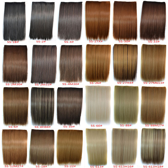 30Colors+120G+24inch(60cm) High Temperature 5 Clips Synthetic Hair Extension Clips In Hair Extensions Ombre Hair Extensions 1PC