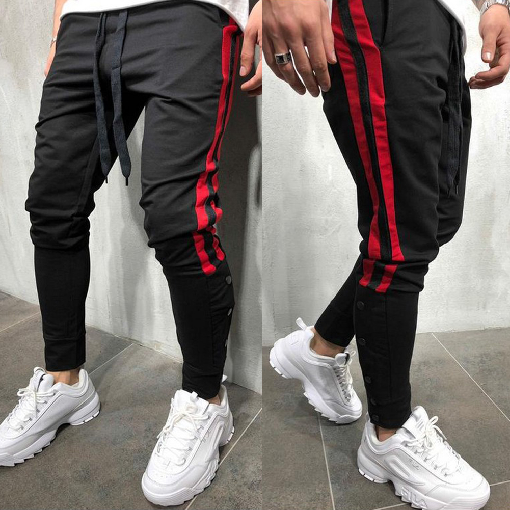 Mens Outdoor Run Sports Joggers Pants Male Sportswear Bottoms Skinny Sweatpants Trousers Gym Fitness Crossfit Cotton Track Pants Beautiful And Charming Running Running Pants