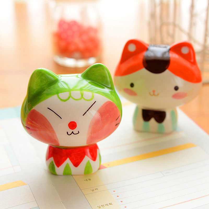 aliexpresscom buy cute cat figurine ceramic craft gift table decorative crafts porcelain zakka ceramic doll novelty deco households 5035 from reliable - Decorative Crafts