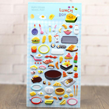 3pcs Lunch Gourmet Kitchen Tool Stickers 3D Three-Dimensional Decorative Bubble Stickers Children Stationery Gift Stickers rookie yearbook three stickers