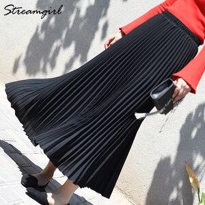 Image 4 - Saia feminina cintura alta com elástico, peça saia plissada longa escritório para mulheres verão 2019
