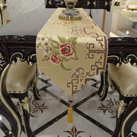 Fashion Amazing Chinese style gold ROSE flowers table runner Lace Luxury Table flag