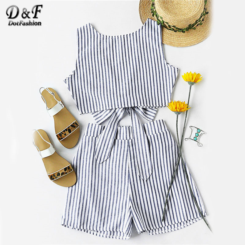 Dotfashion Striped Women Two Piece Set Bow Tie Open Back Knotted Crop Tank Top With Shorts Backless Sexy Women Outfit