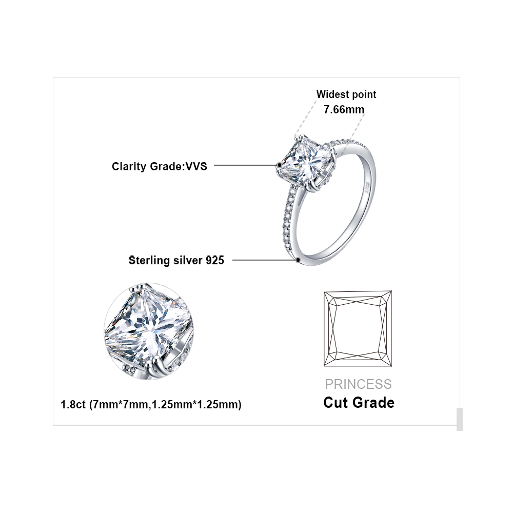 a9f4eff87ee70 JewelryPalace Lovely Engagement Solitaire Ring Genuine 925 Sterling Silver  Rhodium Plated Jewelry For Girl Birthday Present