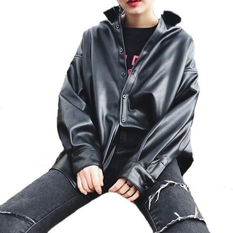 Spring Harajuku Coat Female Hip Hop   Basic   Coats Black Thin Leather   Jacket   Casual Single Breasted Windbreaker PU   Jacket