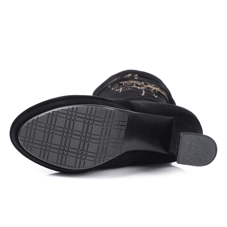 Alto Botas Peluche Corto Las Mujer Zapatos 2019 Cuadrada Cuero Negro Dentro Invierno La Tacón {zorssar} Hasta Caliente Rodilla De Mujeres Rebaño OHqxw7fz