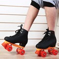 Japy Skate Double Roller Skates Men's 4 Wheels Skates Two Line Roller Skate Patins Unisex Patins Adulto Black Adult Skate Shoes