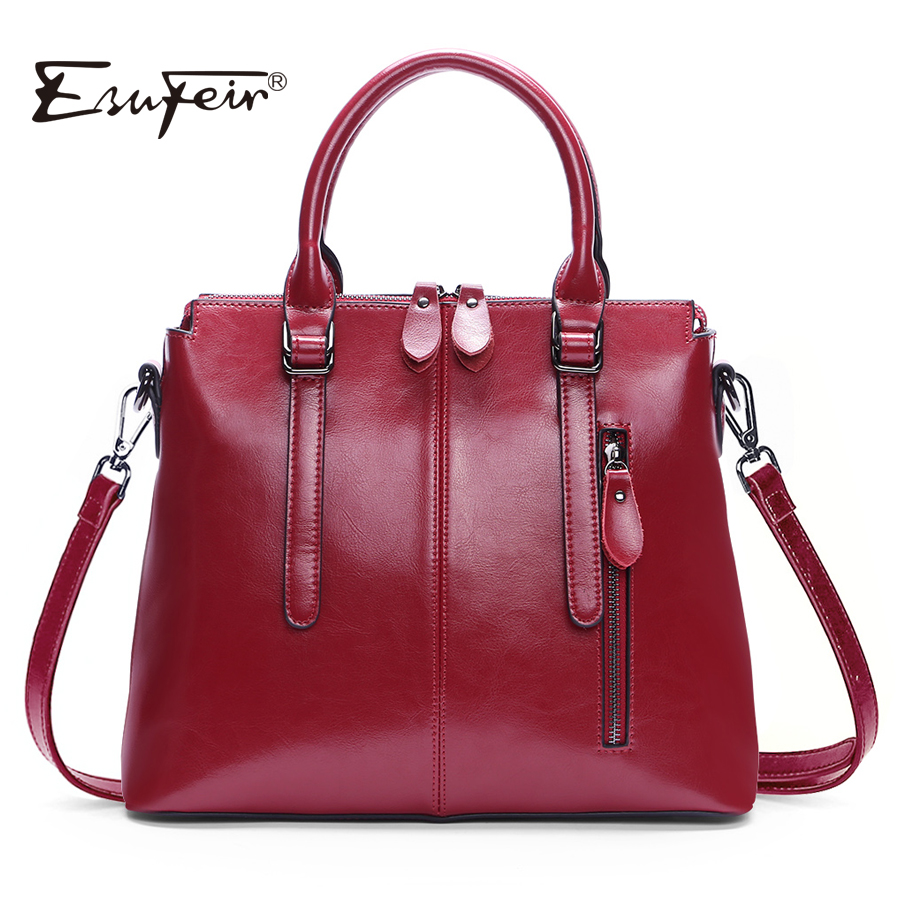 New Arrival 2018 ESUFEIR Brand Genuine leather Women Handbag Soft Leather Fashion Shoulder Bag Large capacity Casual Women Bag new 2017 fashion brand genuine leather women handbag europe and america oil wax leather shoulder bag casual women