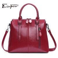 New Arrval 2017 ESUFEIR Brand Genuine Leather Women Handbag Soft Leather Fashion Shoulder Bag Large Capacity